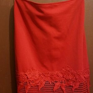 Red Lace Skirt. Fitted. Brand new